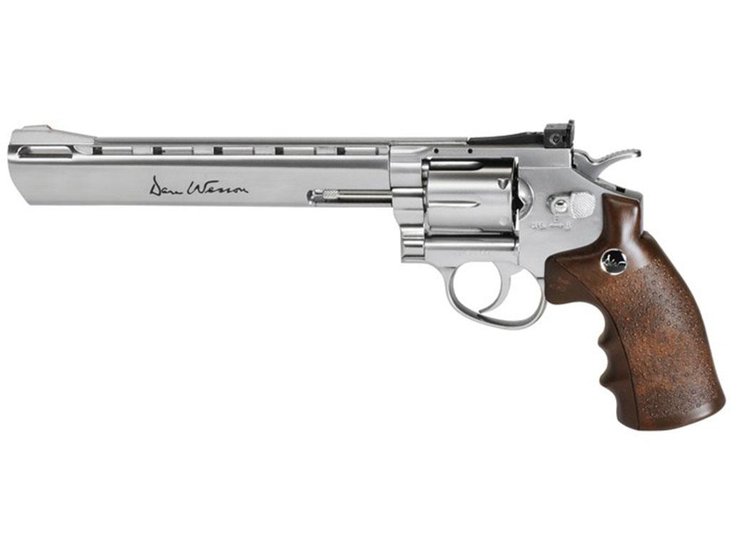 Dan Wesson Silver 8 Inch Brown Handle BB Revolver