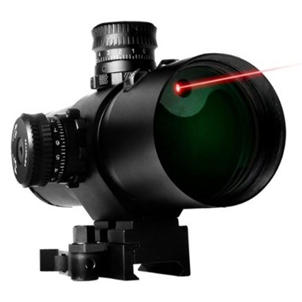 Ncstar Vism CBT Series 3X42 Prismatic Mil Dot Rifle Scope With Red Laser