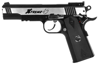 G&G Xtreme 45 Airsoft Gas Blowback Pistol - Stainless Two Tone